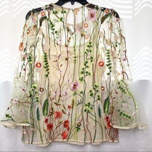 Adiva bell sleeves floral embroidered blouse